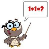 Professor owl holding a pointer stick vector illustration