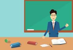 Professor Point Hand To Green School Clack Board Stock Photos