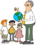 Professor que explica a terra aos estudantes ilustração do vetor