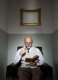Professor reading in armchair Stock Photos