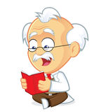 Professor Reading a Book. Clipart Picture of a Professor Cartoon Character Reading a Book Royalty Free Stock Images