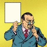 Professor retro com uma barba, sinal do cartaz Foto de Stock Royalty Free