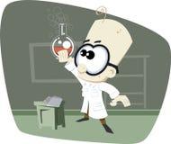 Professor retro da ciência dos desenhos animados com bacia de vidro Foto de Stock Royalty Free