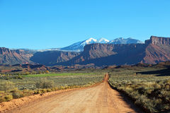Professor Road and La Sal Mountains Royalty Free Stock Photo