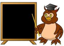 Professor sábio da coruja com quadro-negro Imagens de Stock Royalty Free