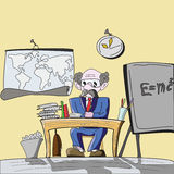Professor at school. Illustration of a professor behind his deask Royalty Free Stock Photo