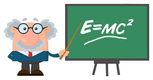 Professor Or Scientist Cartoon Character With Pointer Presenting Einstein Formula Royalty Free Stock Images
