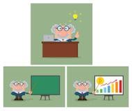 Professor Or Scientist Character Samling - 5 stock illustrationer