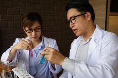 scientist test chimcal liquid in lab Stock Photography