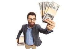 Professor showing money bundles. Isolated on white background royalty free stock images