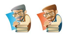 Professor som lutas på bunten av böcker royaltyfri illustrationer