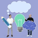 Professor and student with bright ideas royalty free stock image