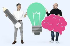 Professor and student with bright ideas royalty free stock images