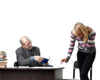The professor and the student at examination. Royalty Free Stock Images
