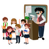 Professor and student illustration, Girl and boy with teacher in college classroom, vector campus university, education Stock Photo