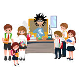 Professor and student illustration, Girl and boy with teacher in college classroom, vector campus university, education Royalty Free Stock Photos