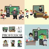 Professor and student illustration, Girl and boy with teacher in college classroom, vector campus university, education Stock Image