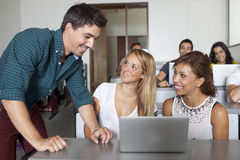 Professor with students Royalty Free Stock Images