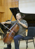 Professor suli of xiamen university playing cello Royalty Free Stock Image