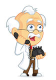 Professor Talking on the Phone. Clipart Picture of a Professor Cartoon Character Talking on the Phone Royalty Free Stock Photo