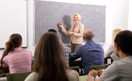 Professor teaching employees stock photography