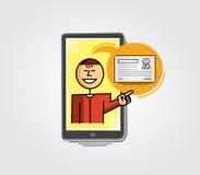 Professor virtual que mostra um certificado através do telefone celular Fotografia de Stock