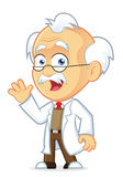 Professor Waving. Clipart Picture of a Professor Cartoon Character Waving Stock Images