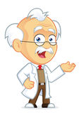Professor in Welcoming Gesture. Clipart Picture of a Professor Cartoon Character in Welcoming Gesture Stock Image
