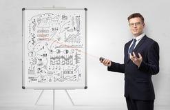 Professor on whiteboard teaching economy stock image