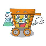 Professor wooden trolley character cartoon. Vector illustration royalty free illustration