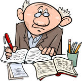 Professor or writer cartoon illustration Stock Photos