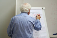 Professor writes on the blackboard. In the MBA class Stock Photography