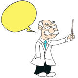 Professor - Yellow Speech Bubble - White Background. Teacher Stock Images