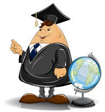 Professore in mantello con il globo royalty illustrazione gratis