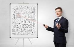 Professore su economia d'istruzione di lavagna immagini stock