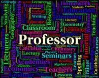 Professorer och undervisning för professor Word Shows Lecturers Arkivbilder
