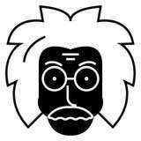 Professorforskaresymbol, vektorillustration, svart tecken på isolerad bakgrund stock illustrationer