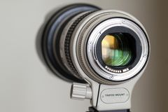 Proffesional digital camera white zoom telephoto lens.  royalty free stock photos