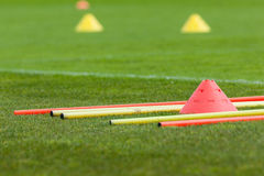 Proffesional football training. With boundary poles Royalty Free Stock Photography