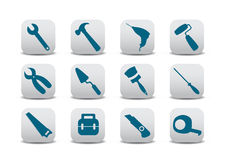 Proffesional instruments. Vector illustration of different kinds of proffesional instruments. Repairing tools buttons set Stock Photo