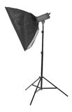 Proffesional photo studio equipments. Studio lamps, isolated on the white background. Black stripsoft box. Royalty Free Stock Photos