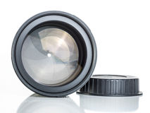 Proffesional photography lens clearly showing the aperture blades or iris Stock Image