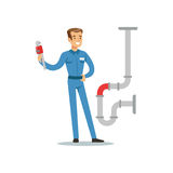 Proffesional plumber man character with monkey wrench repairing pipeline, plumbing work vector Illustration. On a white background Stock Photos