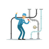 Proffesional plumber man character repairing and fixing water pipes, plumbing work vector Illustration Stock Image