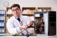 The proffesional repairman repairing broken hard drive Stock Photos