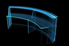 Proffessional Videokamera 3D machte Röntgenstrahl blau Stockfotografie