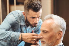 Proficient hairdresser designing haircut in the barbershop. With individual approach to everyone. Creative experienced skillful hairdresser standing in the royalty free stock images