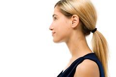 Profiel. Het Gezicht van de vrouw zonder schoonheidsmiddel Stock Afbeelding