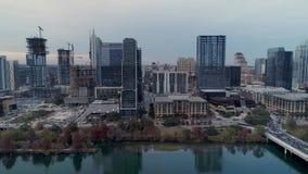 Profiel luchtmening van Austin Texas-horizon stock video