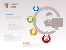 Profiel van bedrijf Het Malplaatje van Infographic Symbool van zakenman met computer Blauwe, groene, oranje en rode knoop met Hui Royalty-vrije Stock Afbeelding